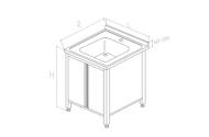 Spalator inox cu o cuva tip dulap 700x700x850 mm