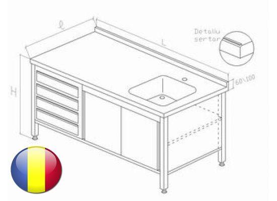 Spalator inox tip dulap cu o cuva usi glisante si 4 sertare GN 1 1 1500x700x850 mm