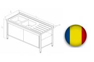 Spalator inox tip dulap cu 2 cuve si usi glisante 1200x700x850 mm