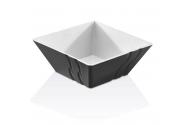 Bol melamina rectangular LUXOR - alb cu negru