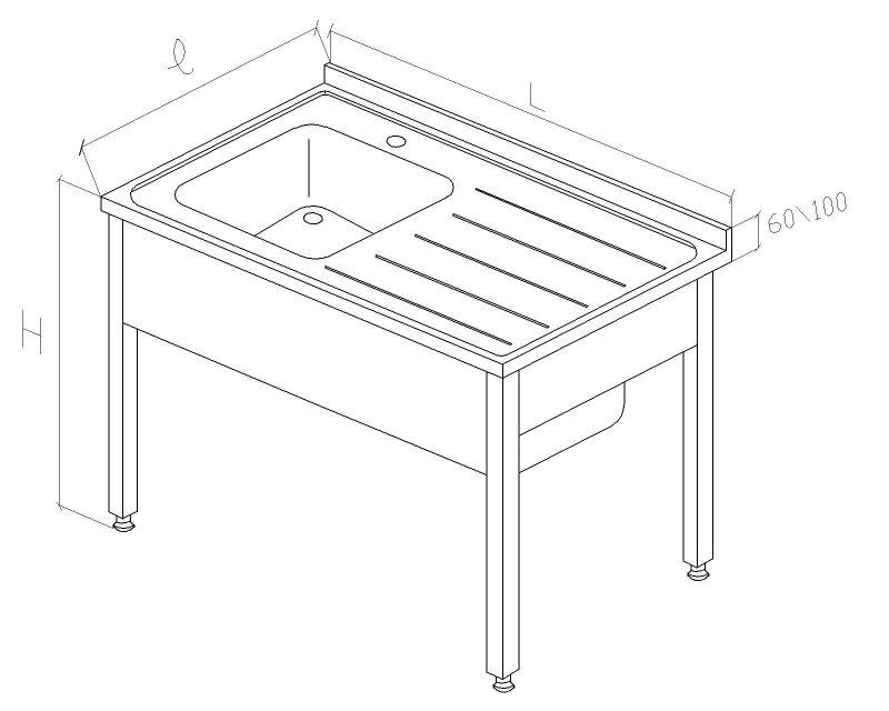 Cuva simpla inox cu picurator dreapta 1200x700x850 mm, cu structura inox