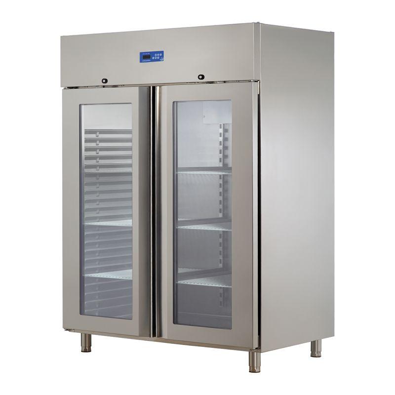 Dulap frigorific dublu cu usi din sticla INOX 430 | Frigider profesional inox 1300 lt Ozti