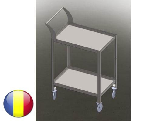 Carucior | Gheridon  inox instrumentar cu 2 polite 700x500x800 mm
