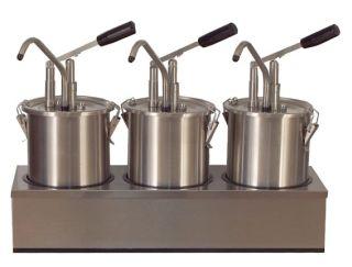 Dispenser sosuri | dozator triplu din inox 3 x 4.5l