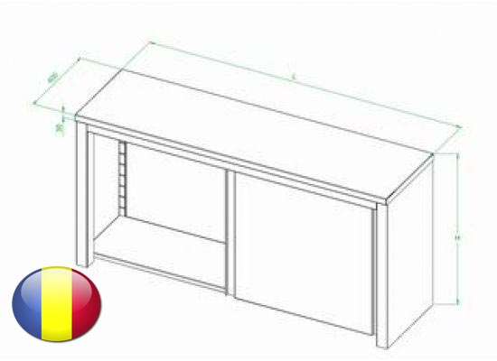 Dulap inox suspendat cu usi glisante fara polita intermediara 2000x400x600 mm