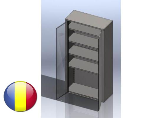 Dulap inox vertical cu usi batante si 4 polite 1800x500x1800 mm