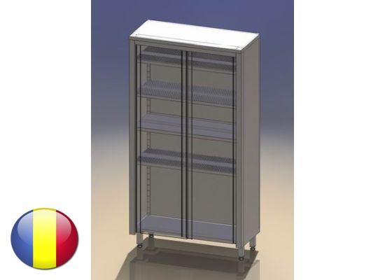 Dulap inox vertical cu usi glisante si 4 polite 1600x500x1800 mm