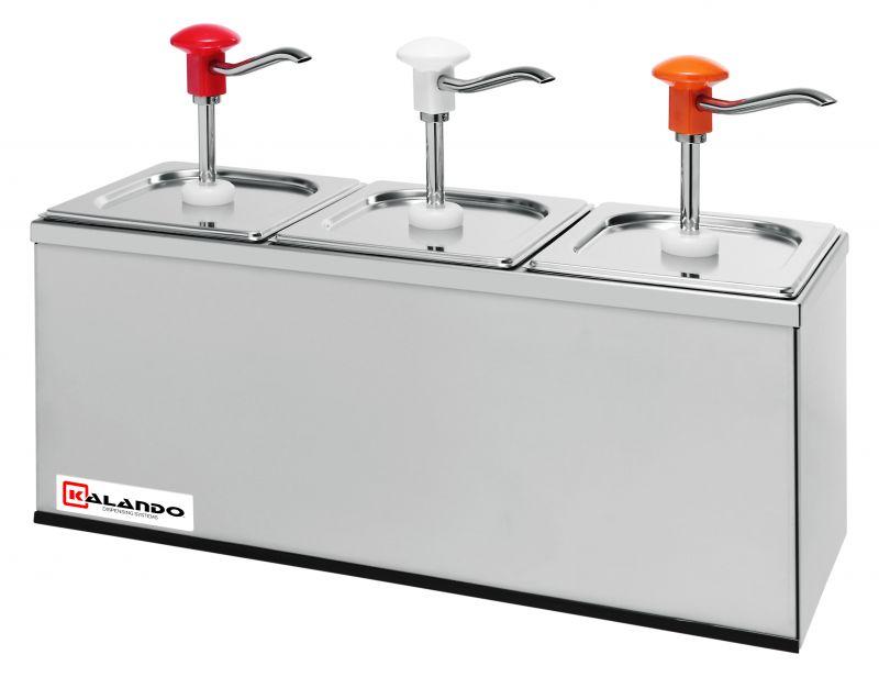 Dispenser sosuri | dozator triplu din inox 3 x 3l