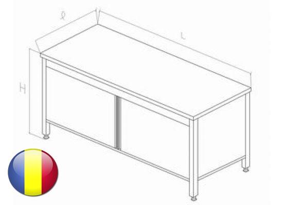 Masa inox centrala tip dulap cu usi glisante si polita intermediara 1600x700x850 mm