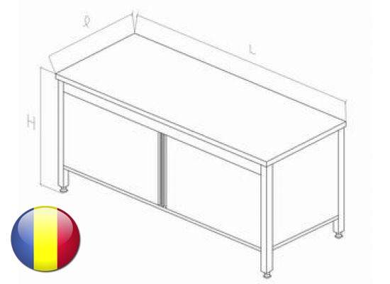 Masa inox centrala tip dulap cu usi glisante si polita intermediara 2000x700x850 mm