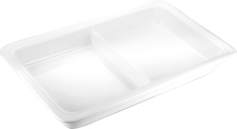 Tava ceramica GN 1/1-65 cu 2 compartimente potrivita si pentru chafing dish