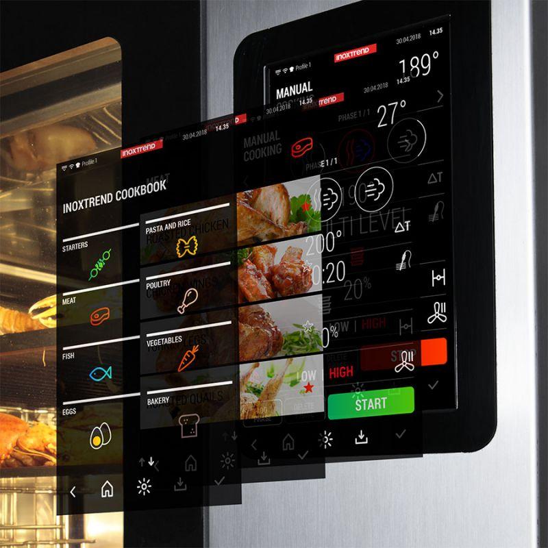 Cuptor profesional CrossWise pe gaz Combi, touch screen, 10 tavi GN 1/1
