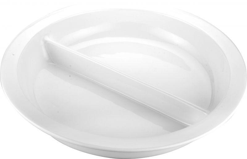 Tava rotunda ceramica cu 2 compartimente potrivita si pentru chafing dish