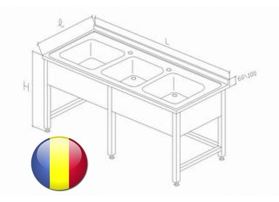 Spalator inox cu 3 cuve si legatura inferioara pe 3 laturi 2600x700x850 mm cu picurator