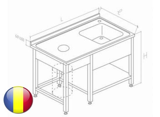 Spalator inox cu orificiu debarasare si o cuva 1200x700x850 mm
