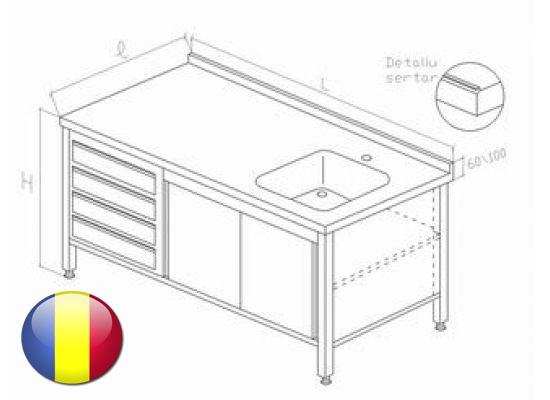 Spalator inox tip dulap cu o cuva usi glisante si 4 sertare GN 1|1 1600x700x850 mm