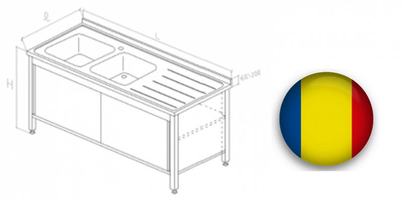 Spalator inox tip dulap cu 2 cuve si usi glisante 1400x700x850 mm