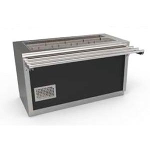 Unitate frigorifica autoservire prevazuta cu dulap neutru, usi batante si ghidaje pentru tavi, 4 cuve GN1/1