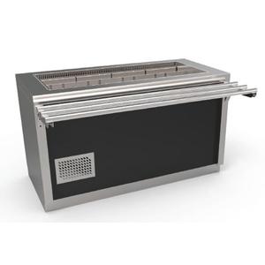 Unitate frigorifica autoservire prevazuta cu dulap neutru, usi glisante si ghidaje pentru tavi, 4xGN1/1