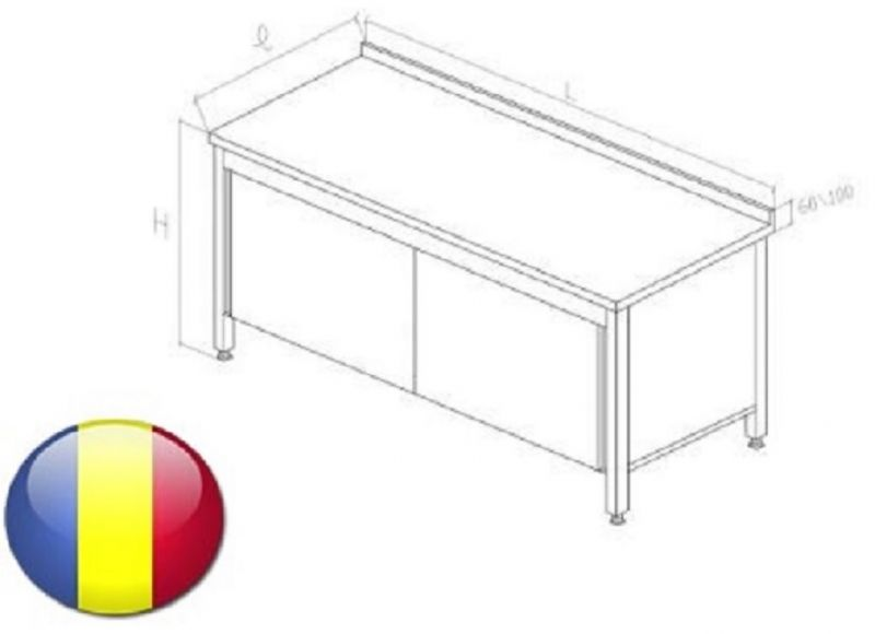 Masa inox cu rebord tip dulap cu usi glisante fara polita intermediara1800X700X850 mm