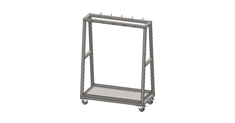 Carucior inox (AISI 304) pentru transport carcase, cu 10 carlige (prevazut cu 4 roti pivotante Ø100mm PE alba, 2 buc cu frana si 2 buc fara frana), 1200x600x1600mm