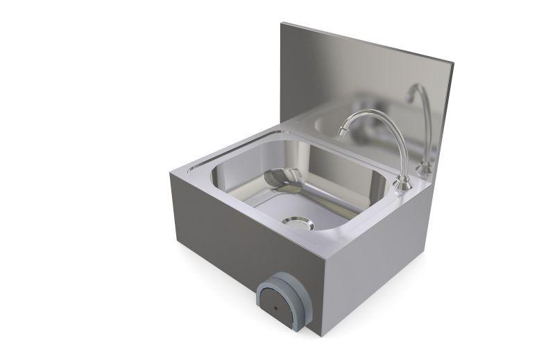 Spalator inox cu actionare la genunchi, protectie perete 500 x 420 x 520 mm